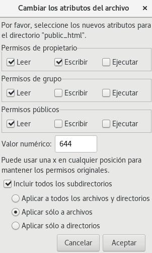 Cambiar atributos de archivo en FTP