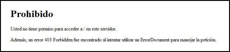 Error 403 Prohibido en navegador web