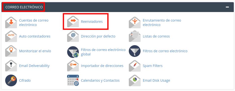 Reenviar correo electrónico en cPanel