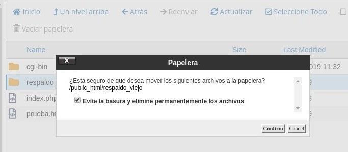Mover correos a papelera - Roundcube Webmail - cPanel