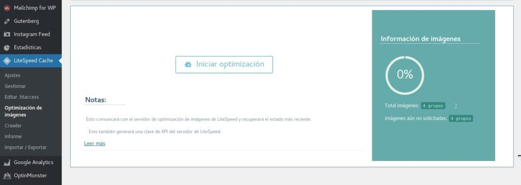Iniciar optimización de imágenes en LiteSpeed Cache