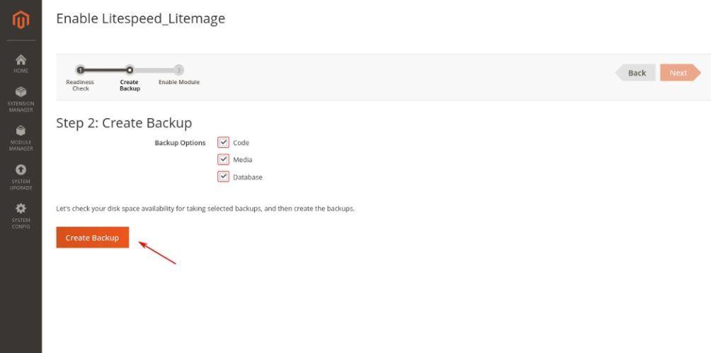 Respaldo previo a activar el cache de LiteMage
