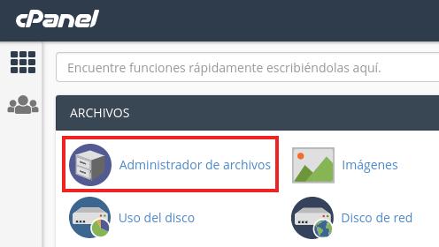 administrador de archivos de cpanel