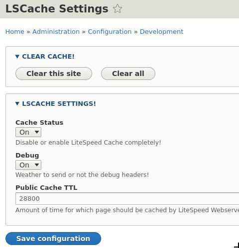 Opciones de LiteSpeed Cache en Drupal