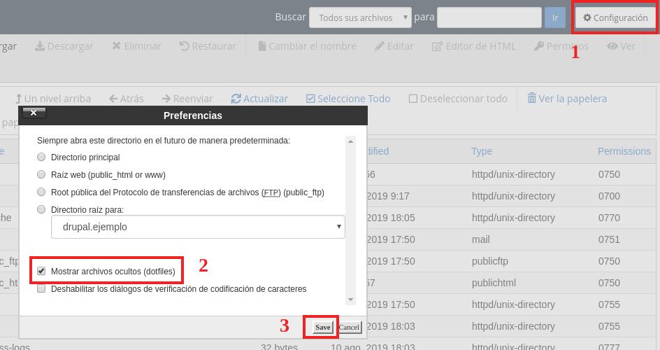 mostrar archivos ocultos en administrador de archivos de cpanel
