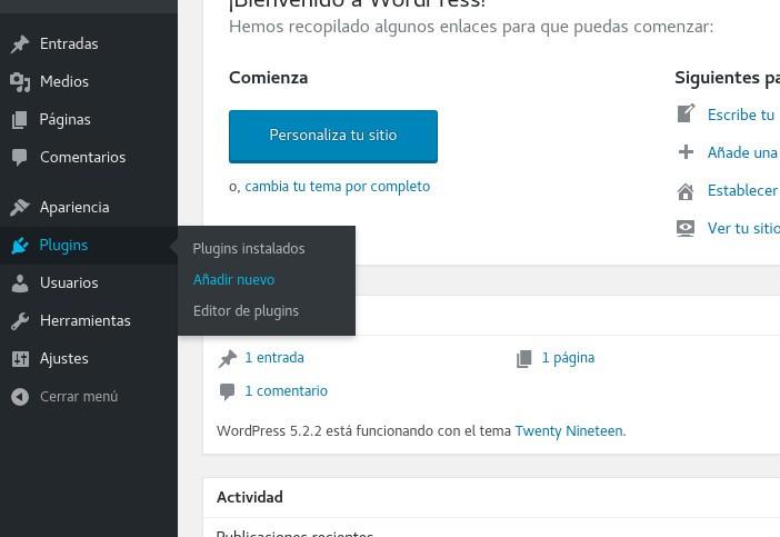 Añadir nuevo plugin a WordPress
