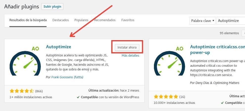 Instalar Autoptimize en WordPress