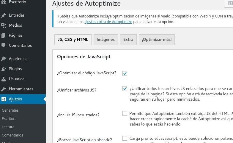 Optimizar JS, CSS y HTML - Ajustes de Autoptimize