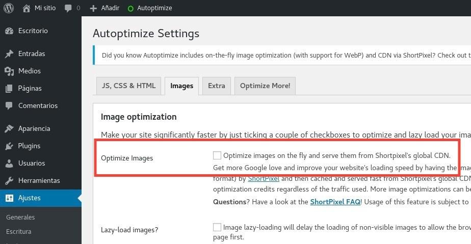 Optimizar imágenes Autoptimize