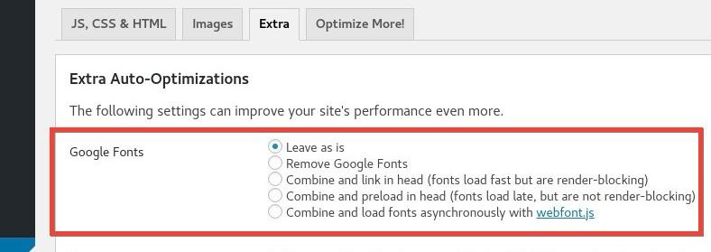 Configurar uso de Google Fonts - Autoptimize