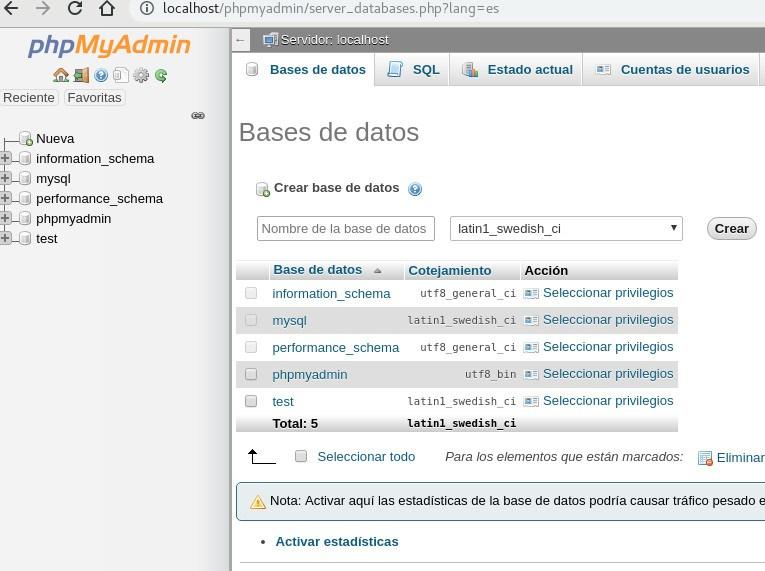 phpmyadmin - base de datos de WP