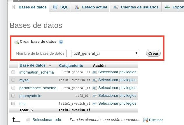 Crear base de datos para instalar WordPress en local