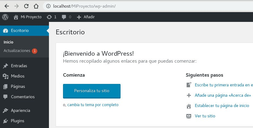 Administrador del WP - Instalar WordPress en local, paso final.