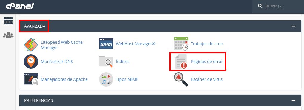 Crear página de Error en cPanel
