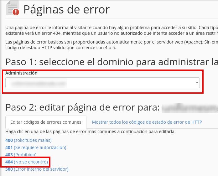 Páginas de Error - cPanel