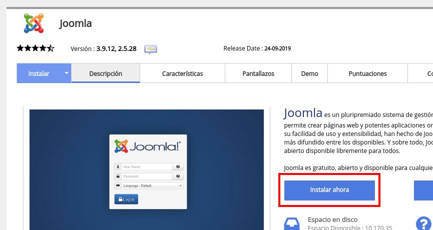 Softaculous instalar Joomla
