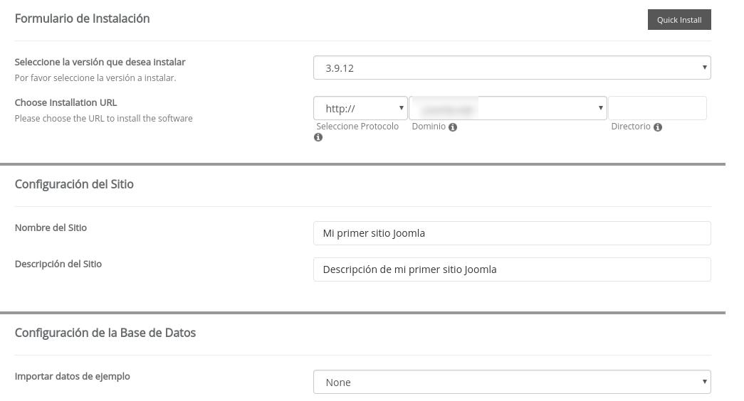 Elegir version de Joomla en Softaculous