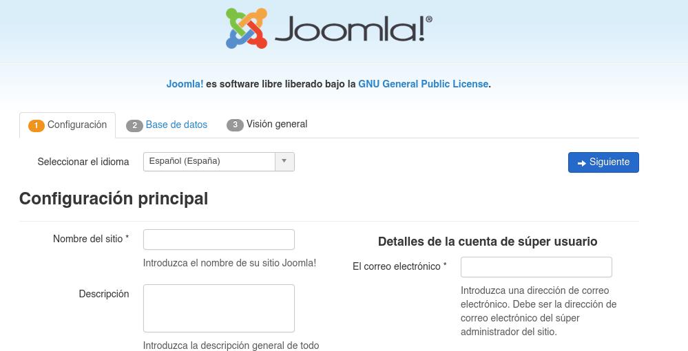 Configuración de Joomla