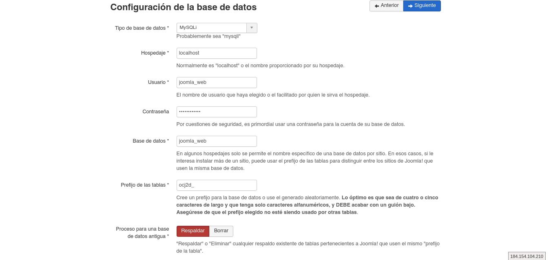 Configuración de base de datos - Joomla