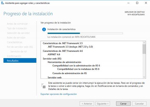 Instalación del servidor IIS