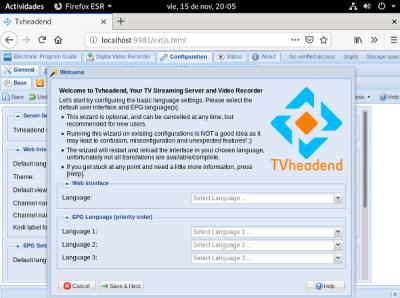 Configurar tvheadend