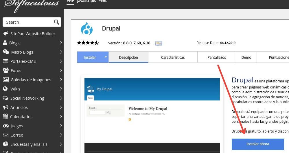 Drupal instalar ahora cPanel