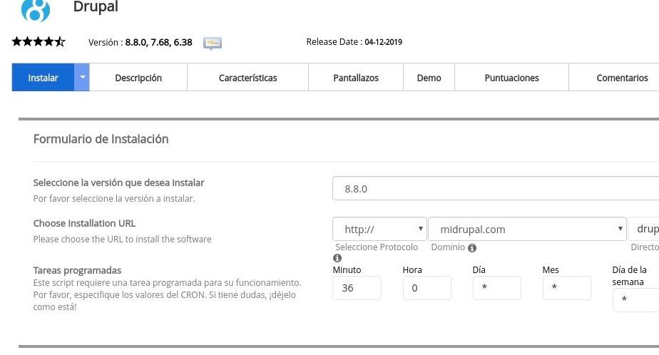 Formulario de instalación de Drupal con Softaculous
