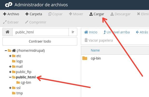 subir archivo drupal a hosting