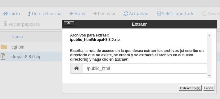 extraer drupal en hosting