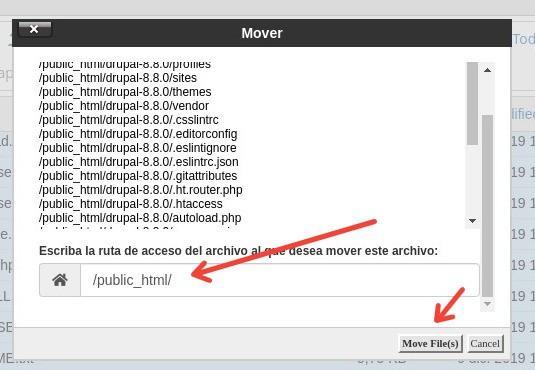 mover archivos drupal dentro del hosting