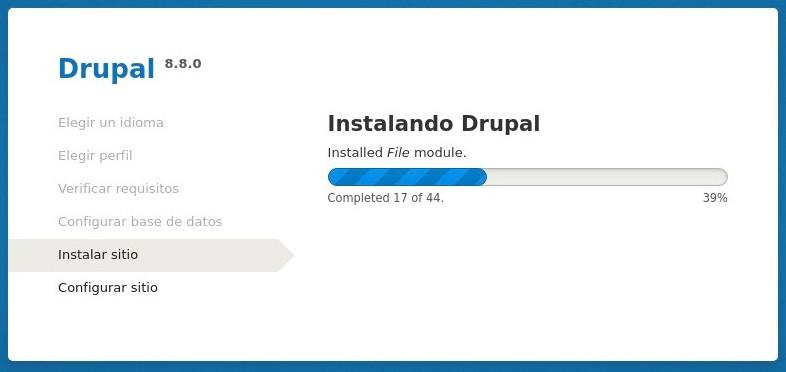 Instalar Drupal - barra de progreso