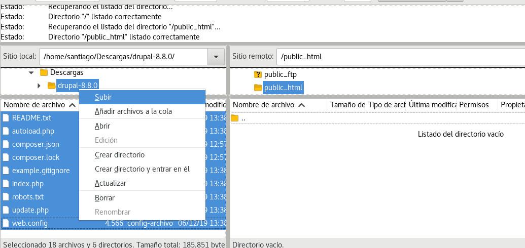 subir archivos drupal al hosting cpanel