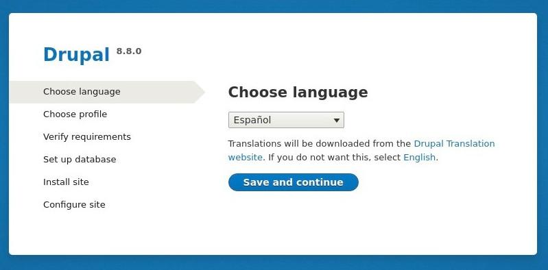 configurar lenguaje drupal 8
