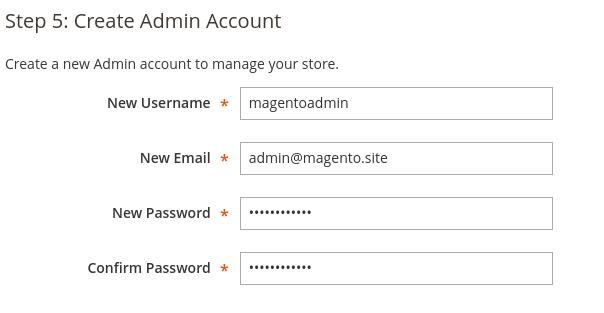 Crear una cuenta administrador