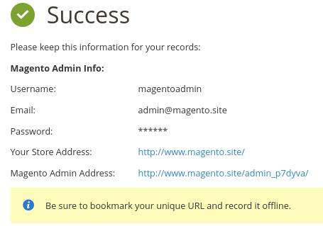 Instalar Magento: proceso finalizado con éxito!