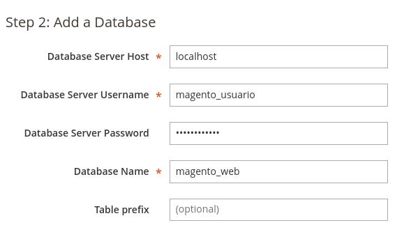 Configurar base de datos en Magento