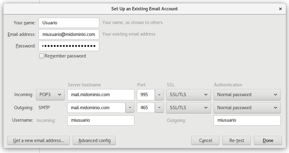 Configuración de un servidor POP