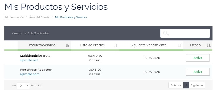 Listado de Servicios en el Área de Clientes