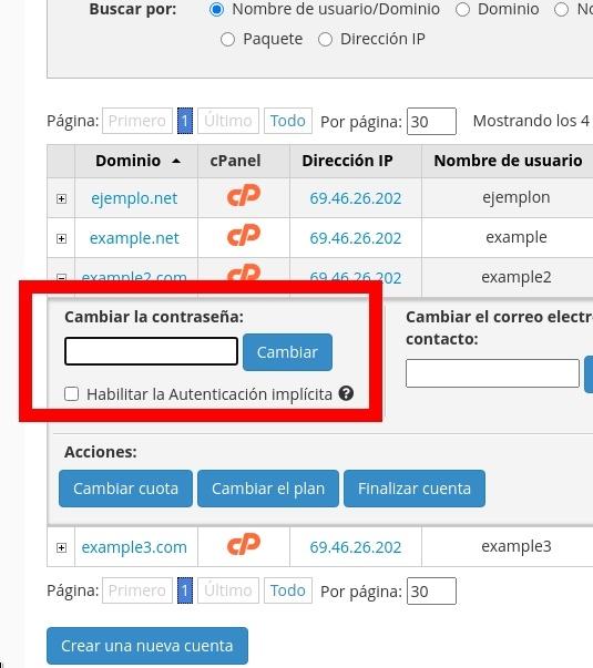 Cambiar la contraseña de cPanel desde el lIstado de Dominios/Cuentas en WHM
