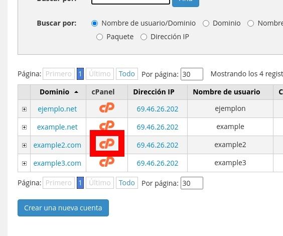 Ingresar a cPanel desde el lIstado de Dominios/Cuentas en WHM