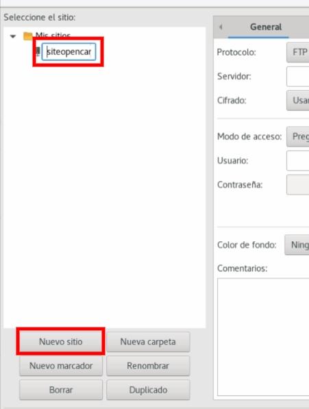 Nueva conexión FTP
