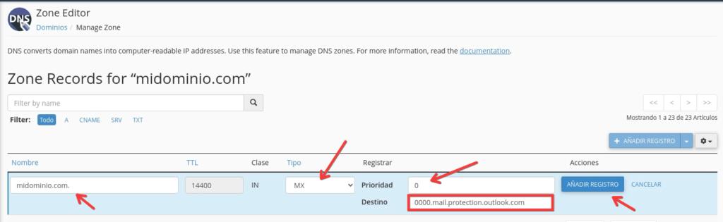 Cómo configurar registros MX para office 365