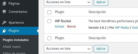 WP Rocket activar plugin
