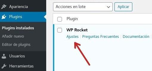 WP Rocket ajustes