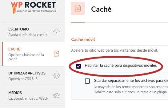 WP Rocket configurar cache