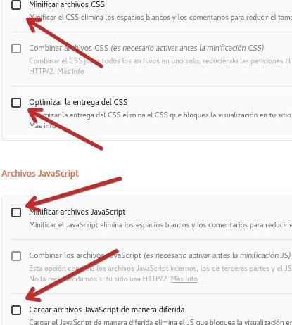 WP Rocket optimizar JS y CSS