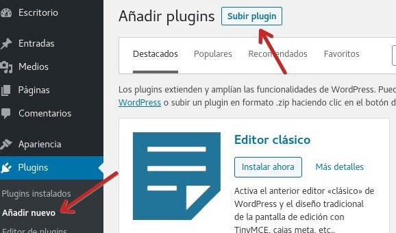 WP Rocket subir plugin