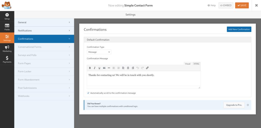 Descripción de las funcionalidades dentro de la pestaña Setings, Confirmations en la creación de un formulario de WPForms
