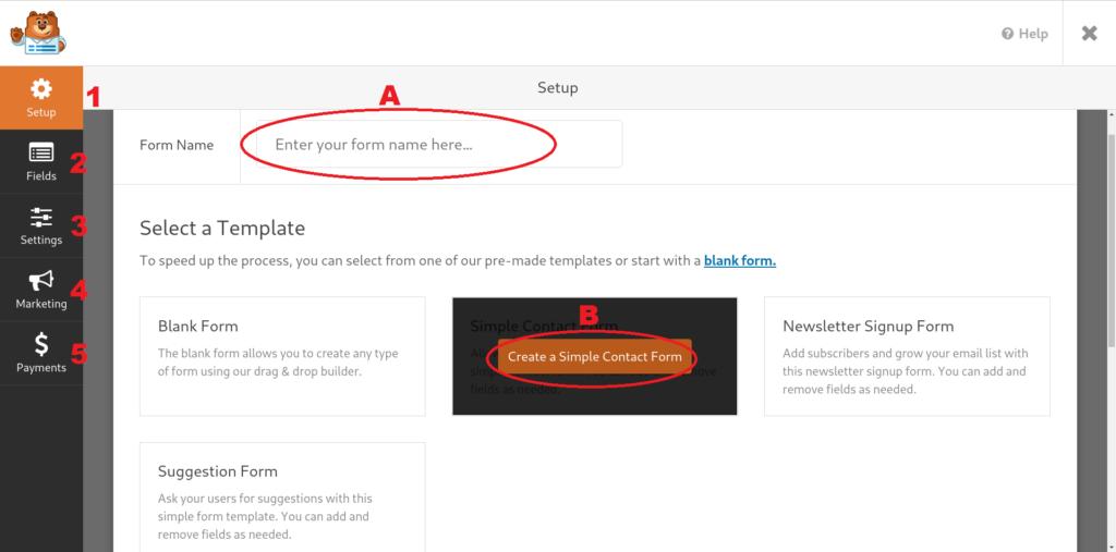 Asigna el nombre y la plantilla inicial para tu nuevo formulario de WPForms