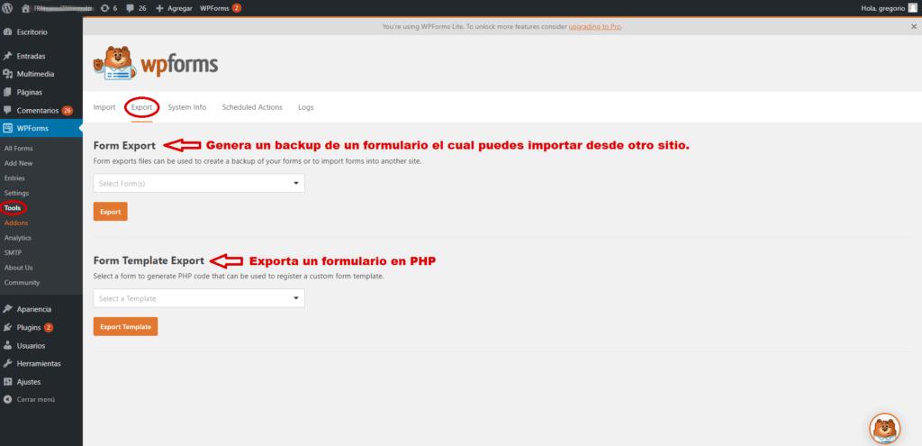 Importar formularios desde la funcionalidad de exportación de WPForms
